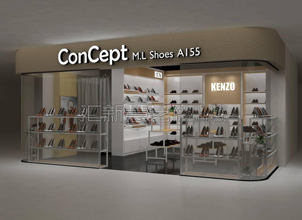 商场女鞋女装店中店品牌专卖效果图2